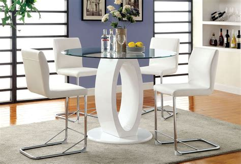 lodia white counter height table set