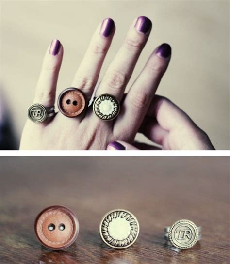 simple diy craft ideas  adults diy button rings