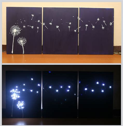 3 ways to design three panel light up dandelion wall