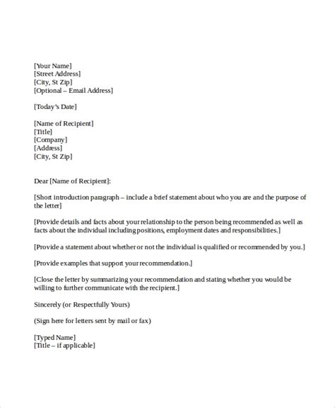 sample personal reference letter templates  ms
