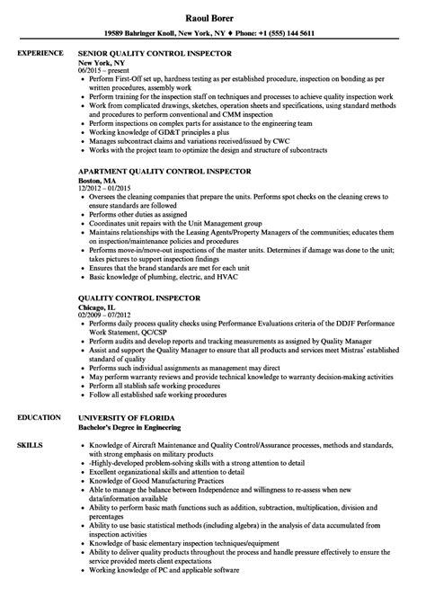 quality inspector resume sles velvet