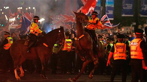 arrested  clashes erupt  glasgow
