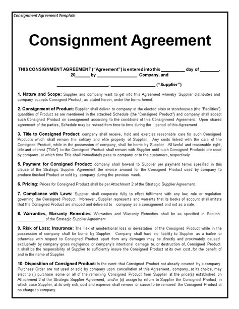 consignment agreement   draft  consignment