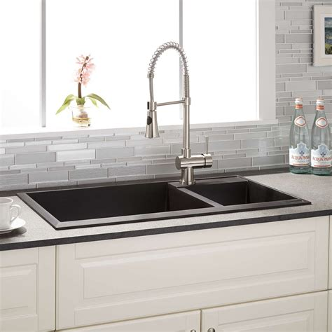 how to clean composite sink kitchen 34 quot arvel 70 30 offset double bowl drop in granite