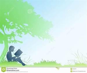 Boy Reading Book Under Tree Stock Illustration ...