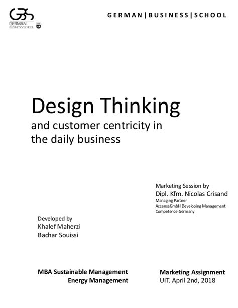Design thinking, april 2nd 2018