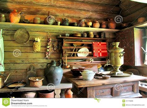 kitchen table plans izba stock photo image of inside clay aged