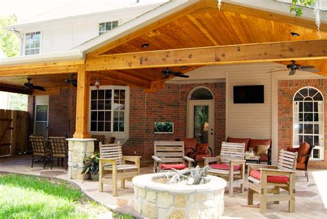 patio cover  stone cedar texas custom patios