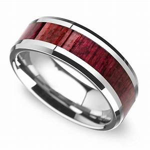 purpleheart wood inlay men39s wedding ring in tungsten With wedding rings with wood inlay