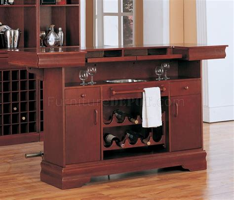 cherry finish contemporary bar table w wine rack glass