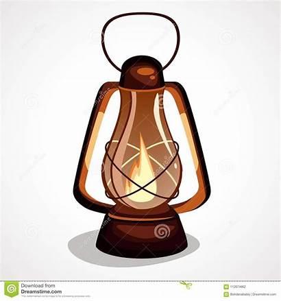 Cartoon Lantern Miner Lamp Vector