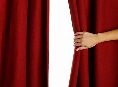 Curtain Curtains Opening Hand Behind Unveiling Peeking