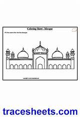 Worksheets Masjid Mosque Badshahi Culture Urdu Coloring Sheets Lahore Arabic Worksheet English Islamic Tracing Writing Pakistani sketch template