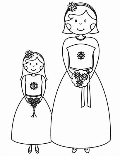 Coloring Pages Bridesmaid Printable Flower Cartoon Bride