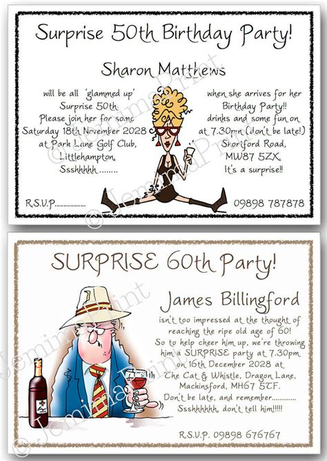Personalised Surprise Birthday Invitations 30th 40th 50th