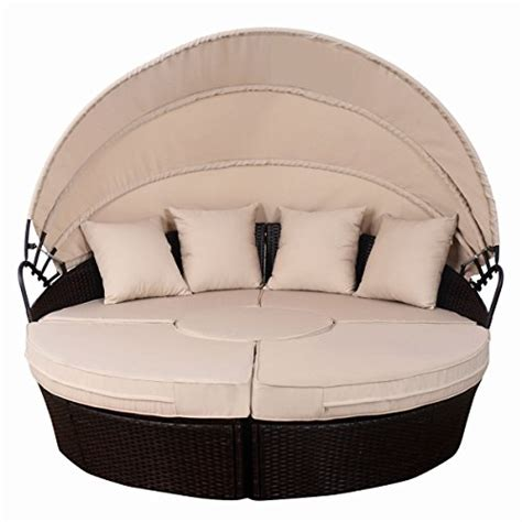 outdoor sofa with canopy tangkula outdoor patio round daybed with canopy wicker