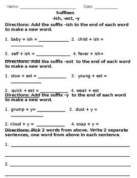 Suffixes Er, Est, Ly, Ful, Less, Ish, Y Homework Worksheet By Mrs Gennaro