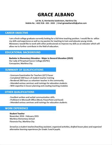 sample resume format fresh graduates  page innovativ