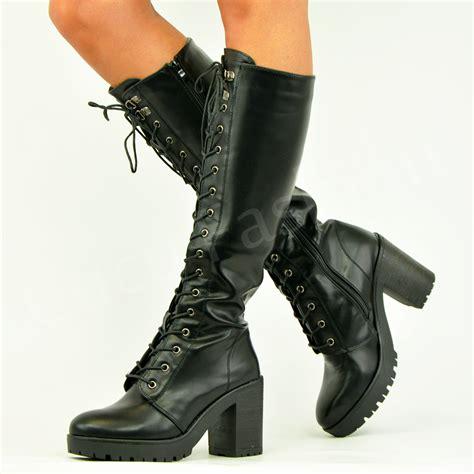womens biker boots womens ladies knee biker boots lace up block heel chunky