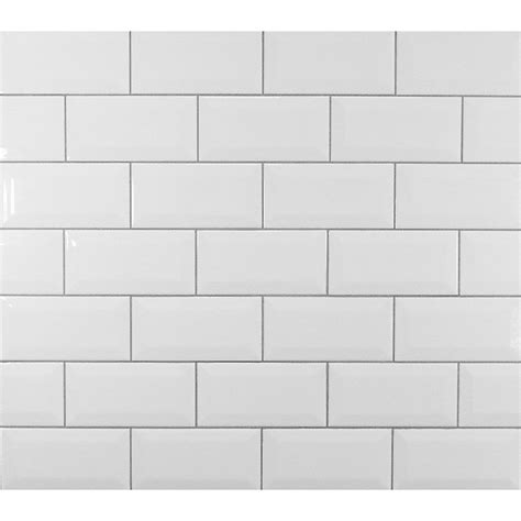 Classic Beveled Ceramic Subway Tile in White & Reviews