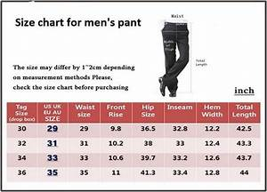 Size Chart For Men U2019s Pant