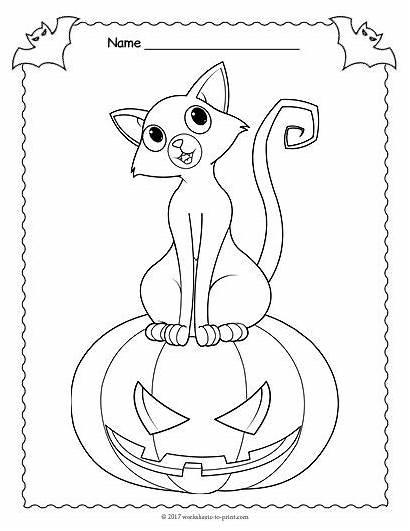 Jack Lantern Coloring Halloween Worksheets Pages Printable