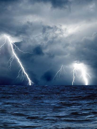 Storm Lightning Sea Clouds Waves 2048 1536