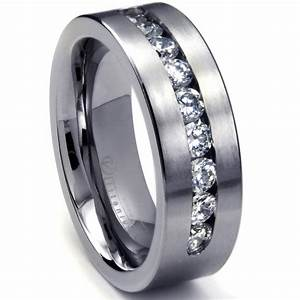 Mens White Gold Rings Wedding Promise Diamond