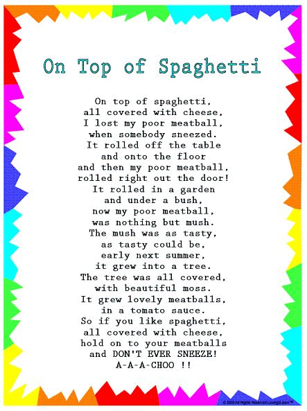 silly songs lyrics for quot on top of spaghetti quot with a learn 725 | d244eb2d856bb0d833142a4b4795a44e