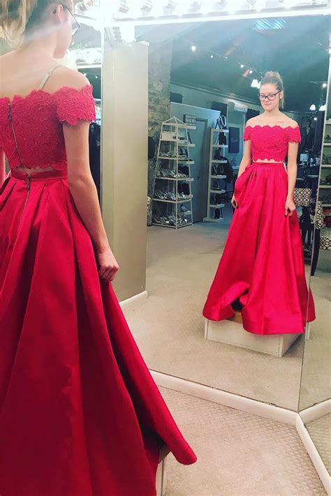 Two Piece Off the Shoulder White/Red Long Prom Dress