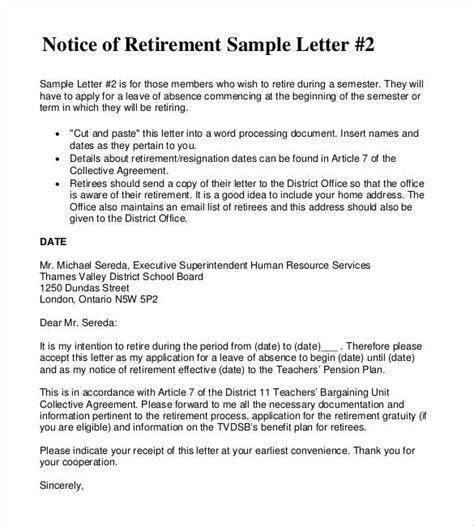 simple retirement letter templates