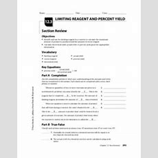 Limiting Reagent And Percent Yield 10th  12th Grade Worksheet  Lesson Planet