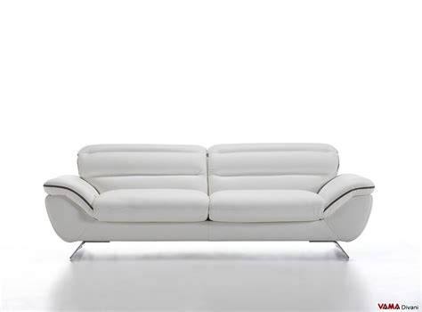 Contemporary White Leather Sofa With Steel Feet