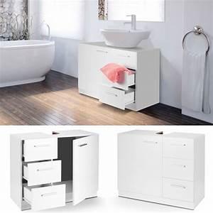 Meuble Salle De Bain Sous Lavabo : meuble sous lavabo blanc avec 3 tiroirs pour vasque de salle de bain ebay ~ Teatrodelosmanantiales.com Idées de Décoration