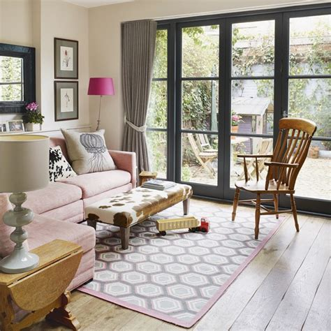 Pale Pink Sofa by Living Room With Picture Window And Pale Pink Sofa