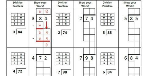division worksheets with boxes free beginning division worksheet boxes for students to write the answers to the steps
