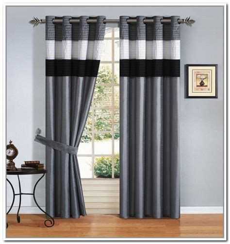 Room With Black Curtains by Gorgeous White Bay Window Idea With Contemporary Striped