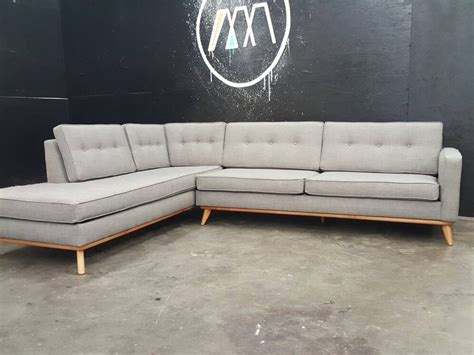 Mid Century Modern Sectional Chaise Sofa