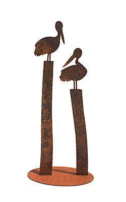 metal pelicans  pylons stand garden art