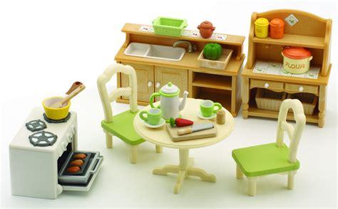 cuisine sylvanian sylvanian families 2951 poupées et accessoires set