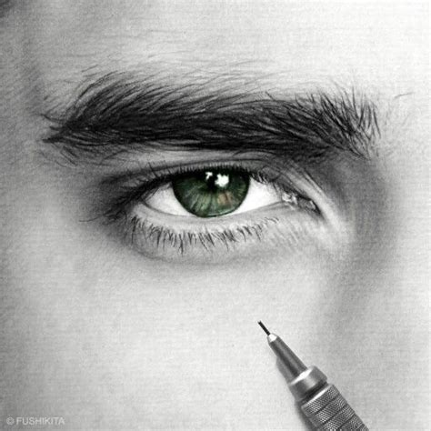pin  lenh holi  digital painting eye pencil art