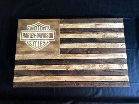 american flag wood flag harley davidson