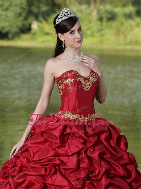 Wine Red and Gold Quinceanera Dresses