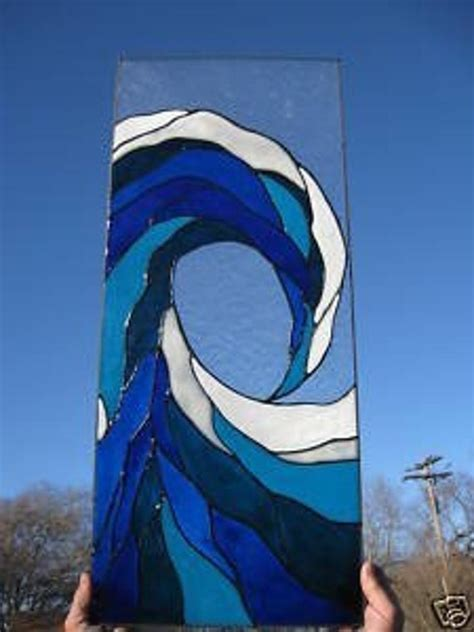 ocean wave blue sea nautical stained glass window