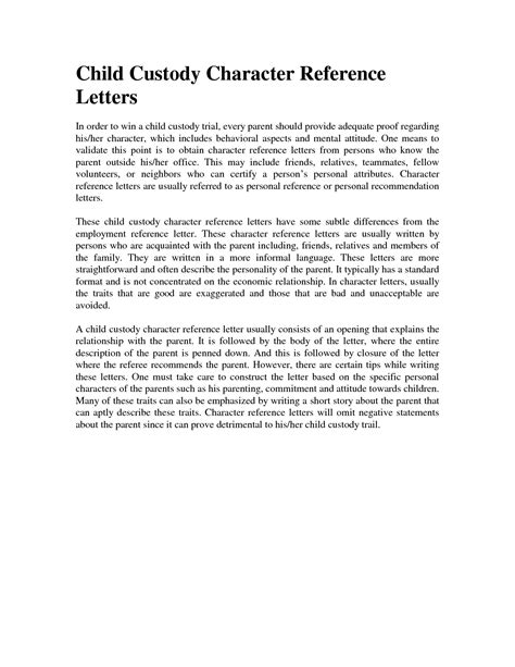 sample character reference letter  child custody