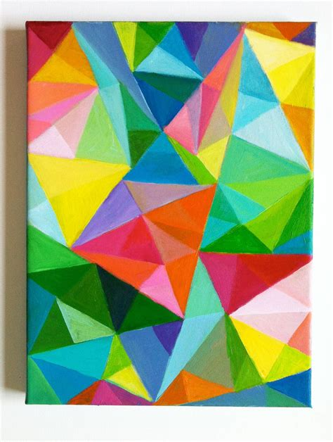 abstract original acrylic painting colored triangles blue