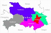 The map of Hubei Province, China. Wuhan, the capital city ...
