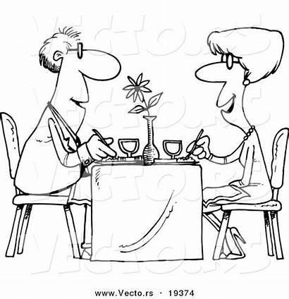 Restaurant Coloring Cartoon Couple Dining Vector Outlined