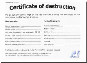 Certificate of destruction template quotes for Certificate of disposal template