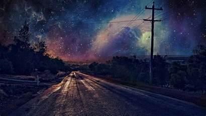 Road Night Stars Background Desktop Anime Scenery